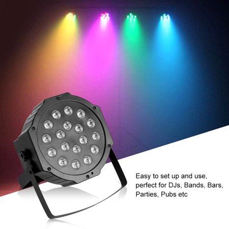Ymiko 18 LED Light Stage RGB 7 CH Stage Lighting DMX512 with Remote Control KTV Bars Party Flat Par Lamp Lights (Refletor Digital Flat Par 18 Leds Rgb)