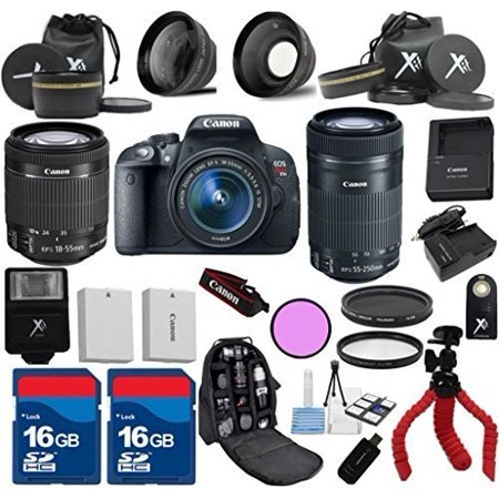 Canon T5i Camera Body with 18-55mm IS STM + 55-250mm IS STM Zoom + 3pc Filter Kit + Wide Angle + Extra Battery + Extra Charger + 2pcs 16GB Memory Cards + 24pc Kit - International Version ()