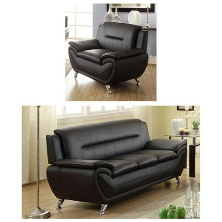 terrific black leather living room set   Norton Black Faux Leather Modern Living Room Sofa and ...