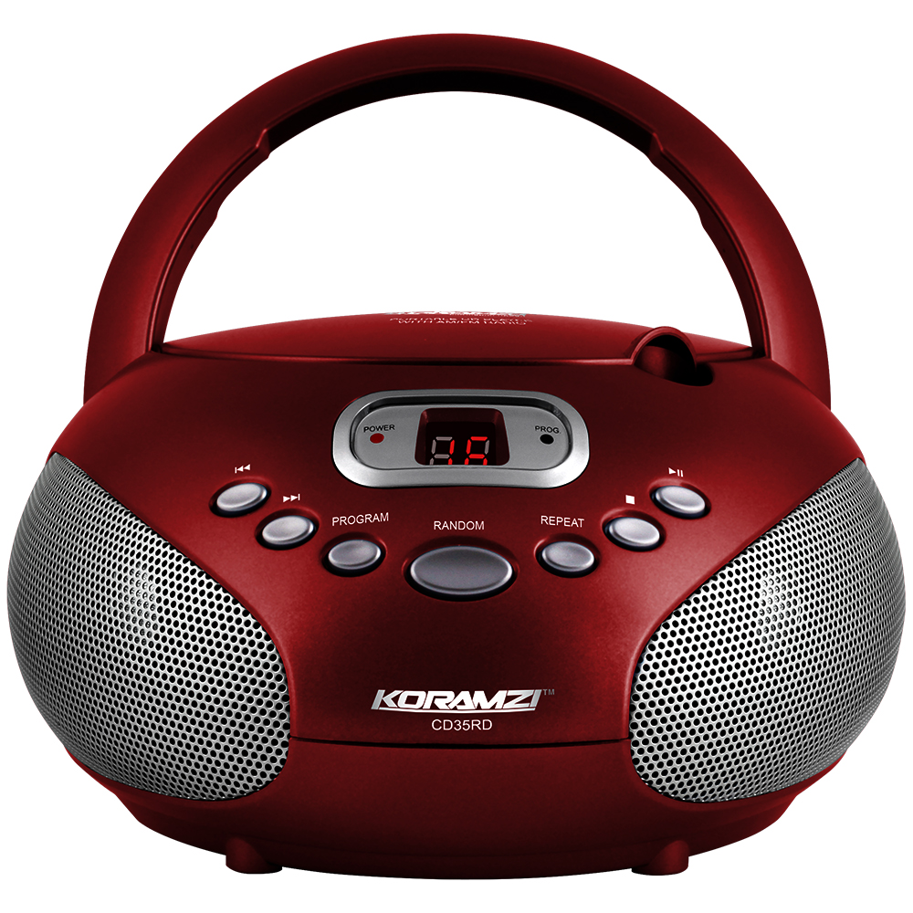 Koramzi Portable CD Boombox Sound System with Top-Loading CD Player, AM/FM Radio and Aux Line-In- CD35(Black)-New