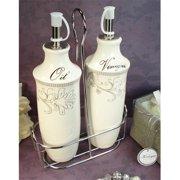 DLusso Designs Cs36 Oil Vinegar Set With Metal Stand Damask Design, Pack Of - 2.