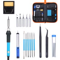 Electric Soldering Iron Kit 60W Adjustable Temperature Welding Tool with 5 Piece Solder Iron Tips Portable PU Carry Bag