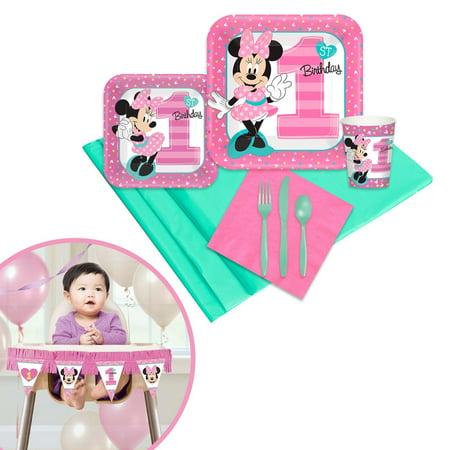 Minnie Mouse 1st Birthday Tableware & High Chair Kit - Minnie Mouse 1st Birthday