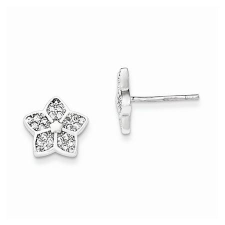 (925 Sterling Silver Polished Cubic Zirconia Flower Post Earrings (10mm x 11mm))