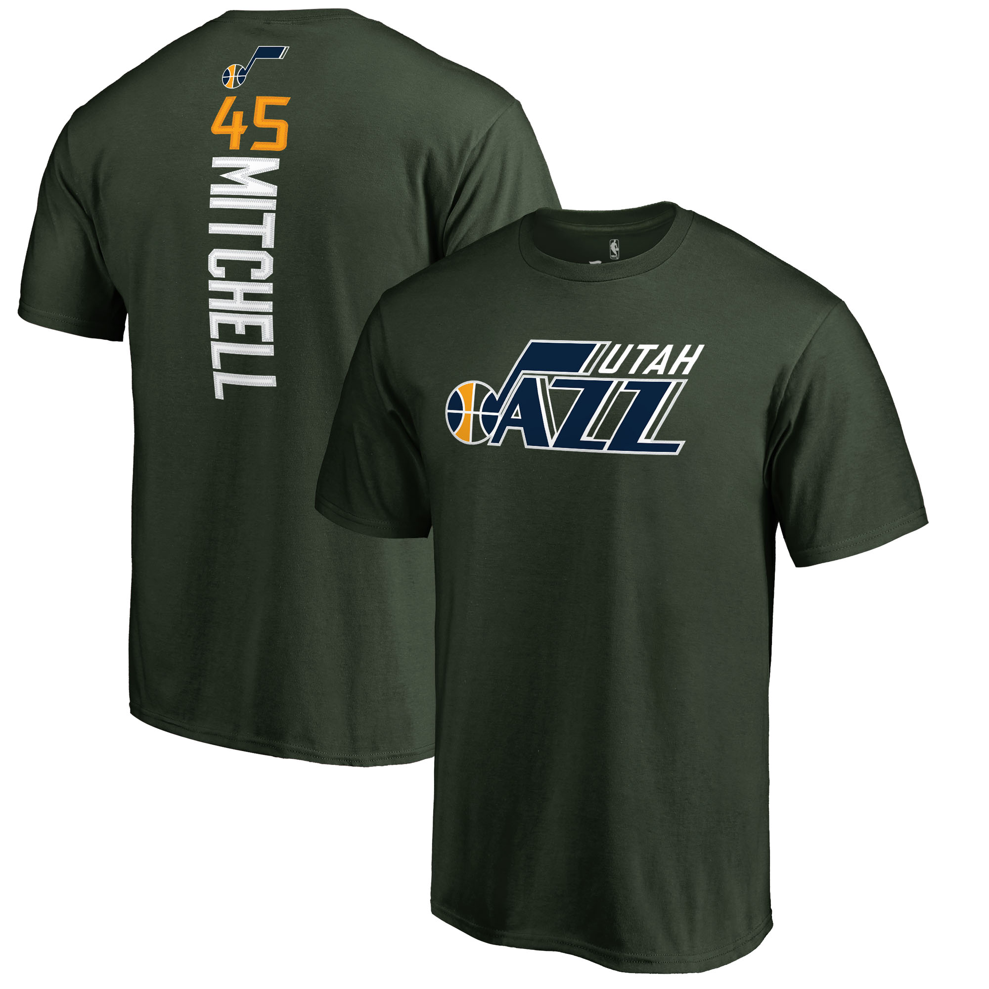 Donovan Mitchell Utah Jazz Fanatics Branded Team Backer Name & Number T-Shirt - Green