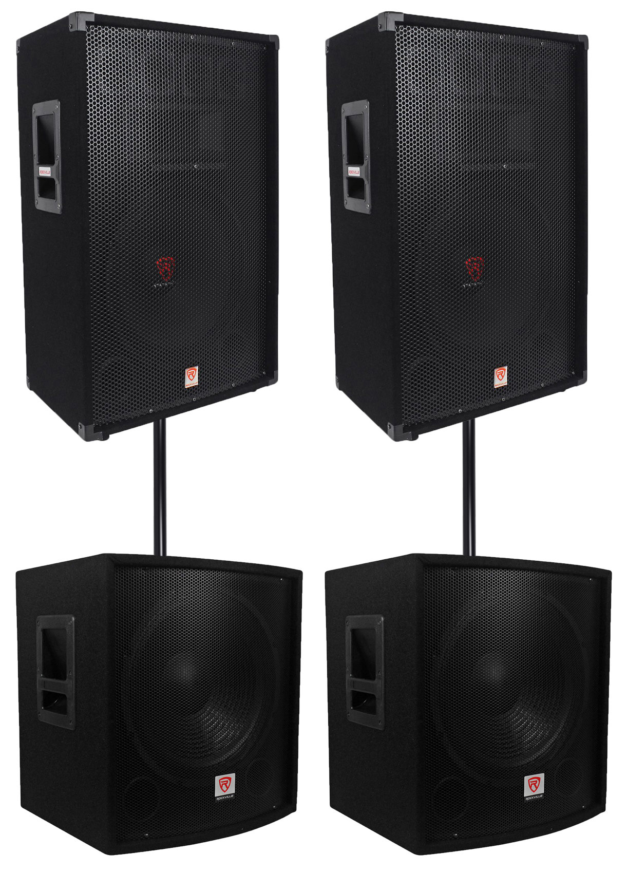 2 rockville rsg15 15 3000w passive dj pro audio pa speaker 2 15 subwoofers. Black Bedroom Furniture Sets. Home Design Ideas