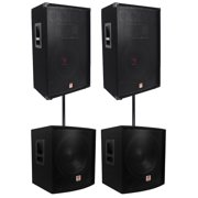 "(2) Rockville RSG15 15"" 3000w Passive DJ/Pro Audio PA Speaker+(2) 15"" Subwoofers"