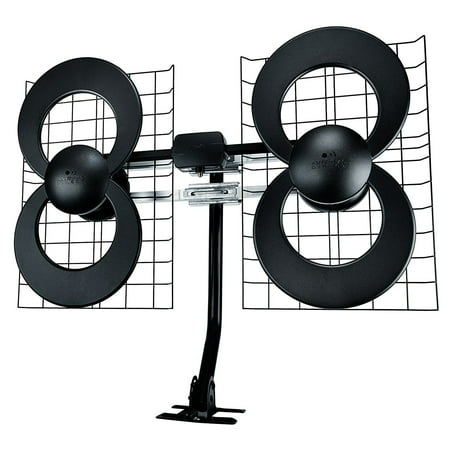 clearstream 4max tv antenna, 70+ mile range, multi-directional, indoor, attic, outdoor, 20-inch mast with pivoting base, all-weather mounting hardware, 4k ready, black