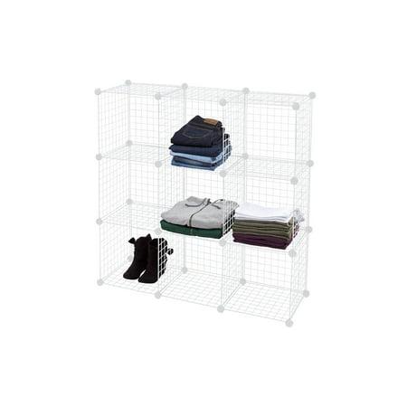 3 x 3 Mini White Wire Grid Unit with Back - 9 Cubes Per Set