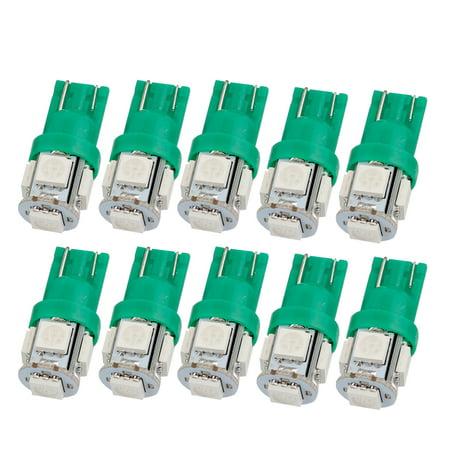 Unique Bargains 10 Pcs Green 5050 Smd 5 Led T10 W5w 194 168 192 Car Signal Side Light Bulbs