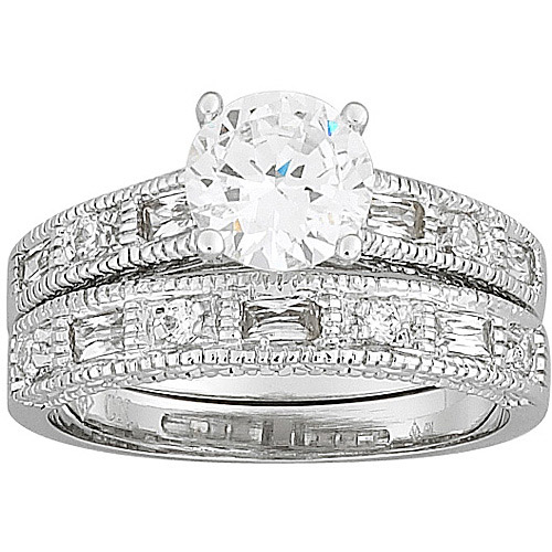 2.7 Carat T.G.W. Round CZ Silver-Tone Wedding Ring Set
