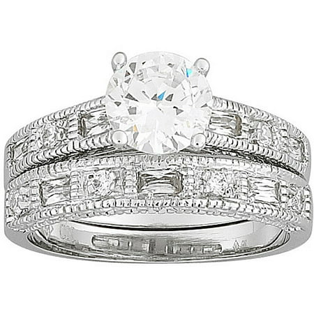 27 carat tgw round cz silver tone wedding ring set - Walmart Wedding Ring Sets