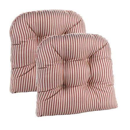 Gripper Non-Slip Ticking Stripe 15 x 15 Universal Chair Cushions, Set of 2 ()
