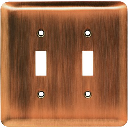 Franklin Brass Rounded Corner Double Switch Wall Plate in Antique Copper
