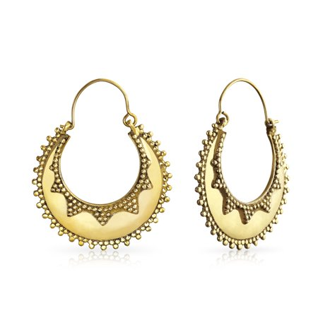Boho Bali Tribal Style Caviar Beaded Edge Crescent Round Flat Shaped Large Hoop Earrings For Women Gold Plated Metal (Style Amber Earrings)