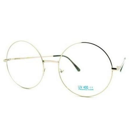 XL LARGE John Lennon Glasses Round Retro Clear Lenses Sunglasses Nerd, Silver Frame