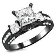 Noori Collection Noori 14k Black Gold 1 7/10ct TDW 3 Stone Princess Cut Diamond Engagement Ring
