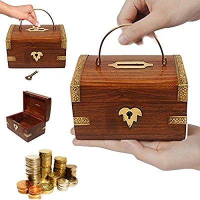 Wooden Money Box With Key Lock  Piggy Bank  Coin Box Thanks Giving Or Christmas Gift By Pmk