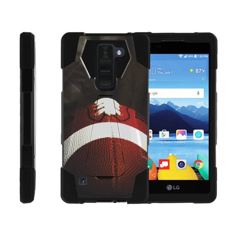 Case for LG K8V | LG VS500 Hybrid Cover [ Shock Fusion ] High Impact Shock Resistant Shell Case + Kickstand - Football Lace Close Up