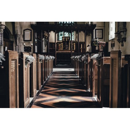 Canvas Print Aisle Indoors Altar Church Building Wood Seats Stretched Canvas 10 x 14