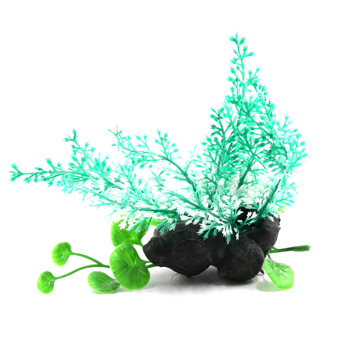 Mint Green Fish Tank Terrarium Plants Ornament for Reptiles w Ceramic Base