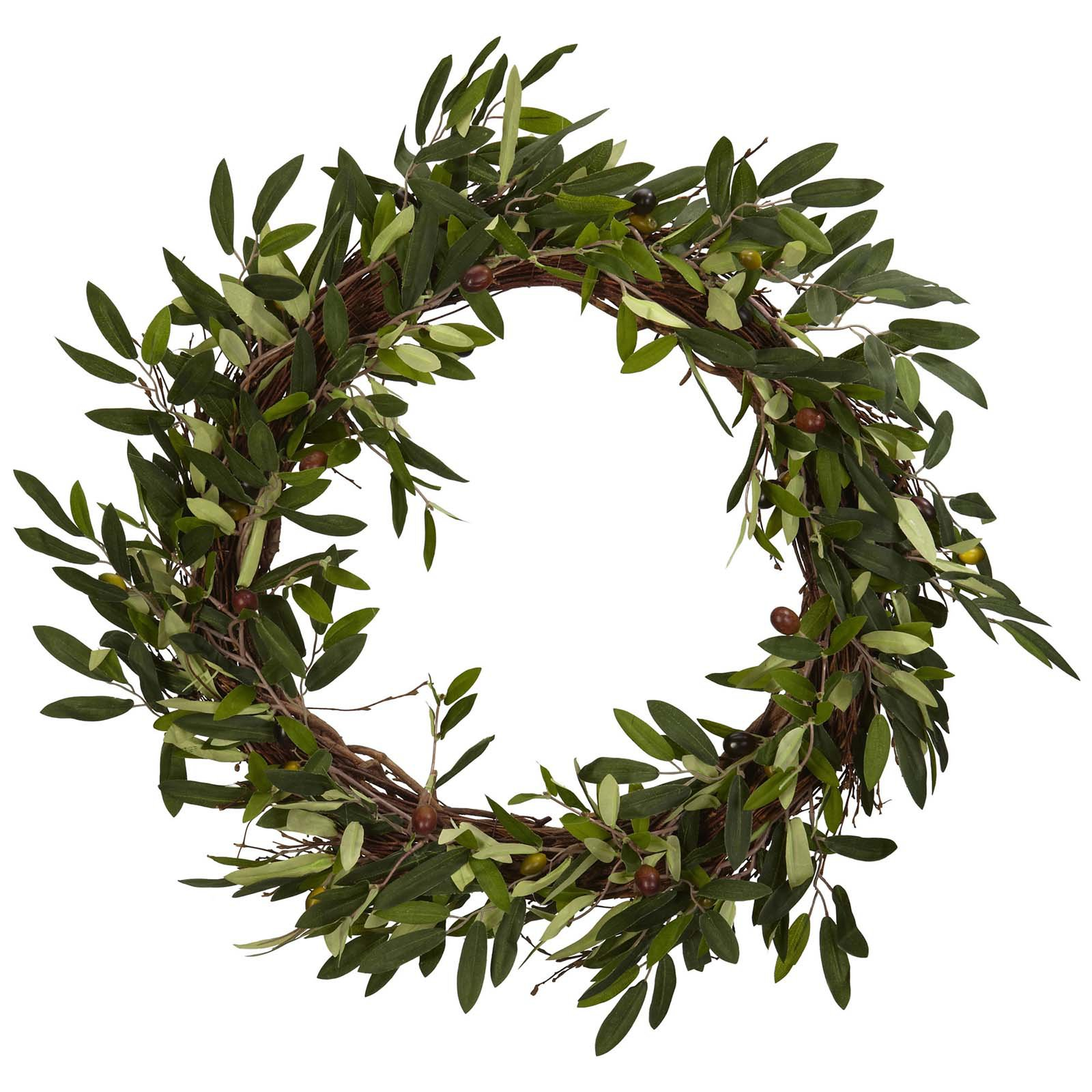"Nearly Natural 20"" Olive Wreath"