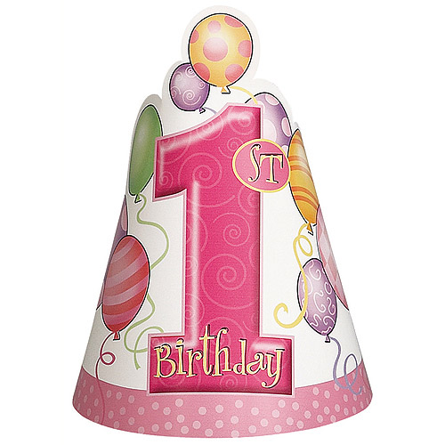 Pink Balloons 1st Birthday Party Hats, 8-Count