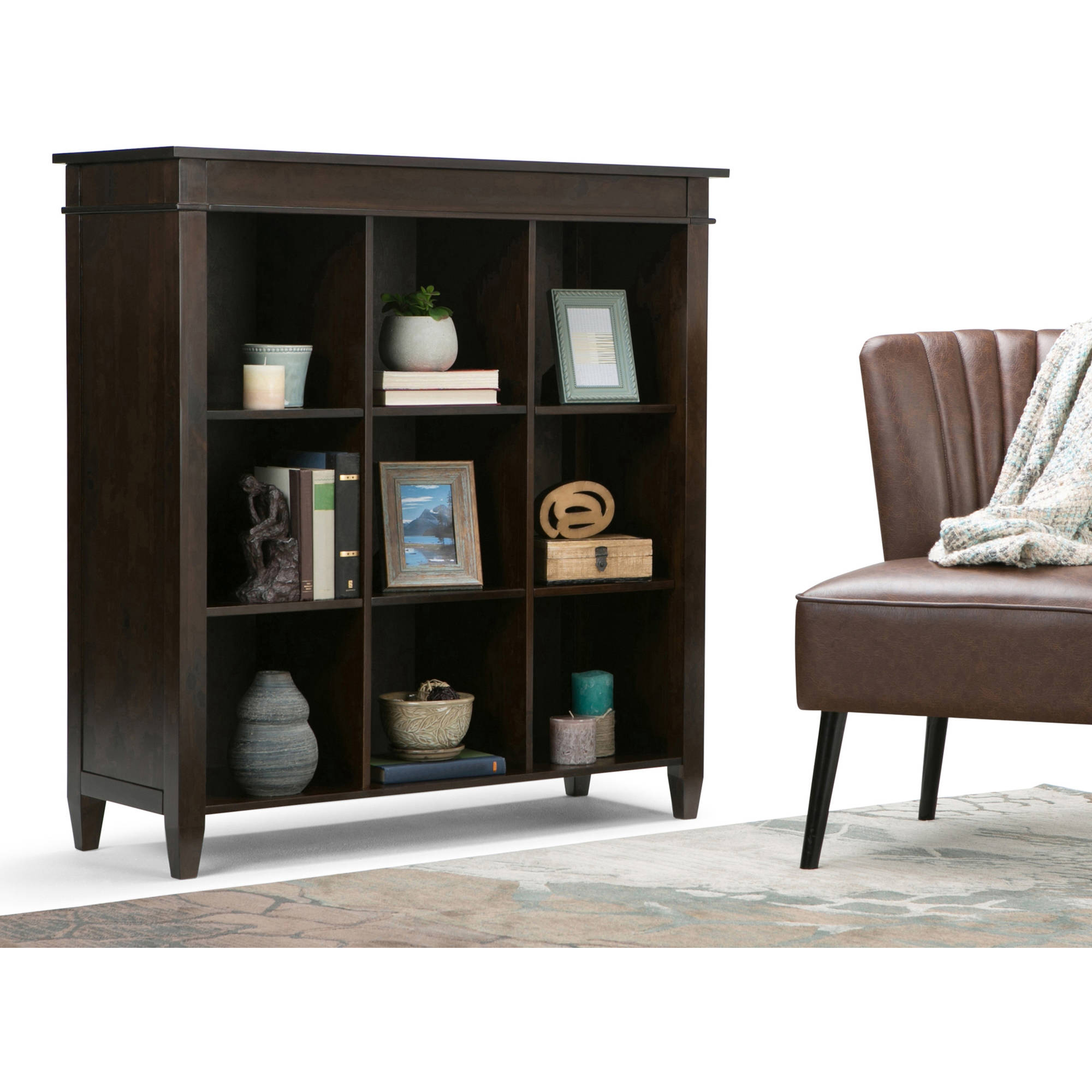 Brooklyn + Max Richland Collection Dark Tobacco Brown 9-Cube Bookcase and Storage Unit