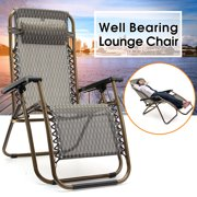 Foldable Relaxer Chair Garden Lawn Patio Camping Outdoor Picnic Hiking Beach Chair Zero Gravity Reclining Seat