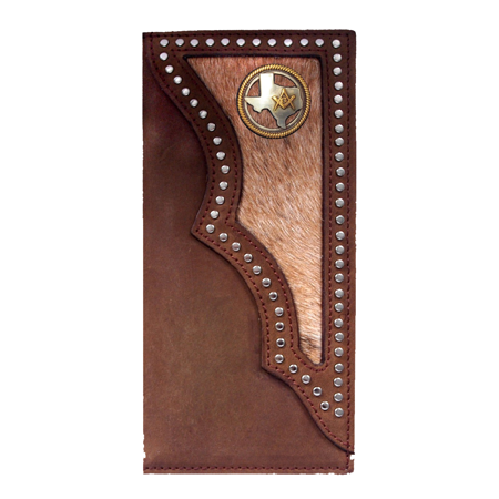 Custom 3D Belt Co. Texas Mason Long Rodeo Checkbook Wallet Hair on Hide Brown Rodeo Checkbook Wallet
