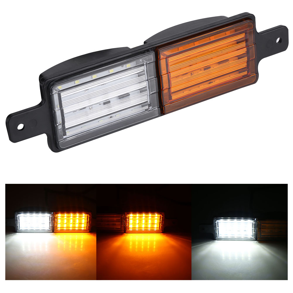 TOPINCN 2Pcs Truck Bus Side Light Lamps Indicators with 15pcs Yellow LEDs and 15pcs White LEDs,Side Lamp, Truck Lamp
