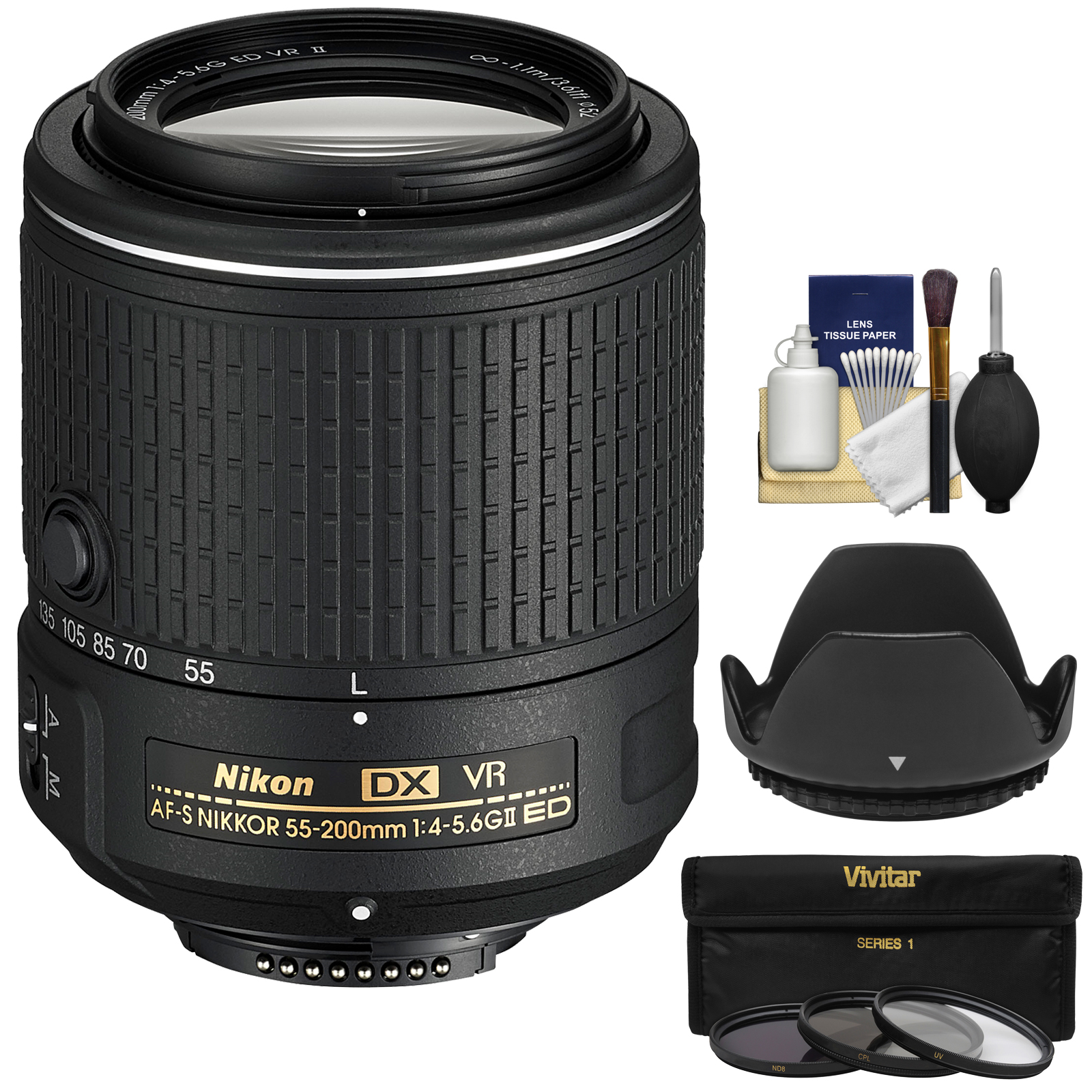 Nikon 55-200mm f/4-5.6G VR II DX AF-S ED Zoom-Nikkor Lens - Factory Refurbished with 3 UV/CPL/ND8 Filters + Hood + Kit