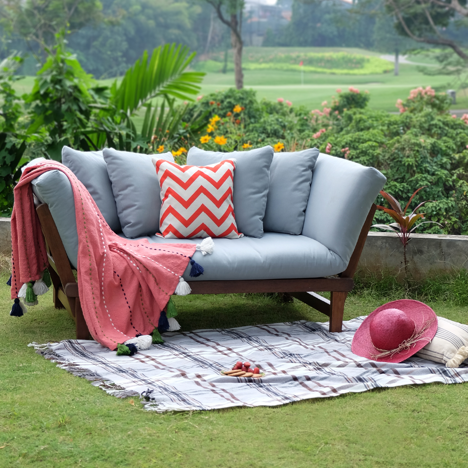 Westlake Outdoor Convertible Sofa Daybed, Natural Brown ...