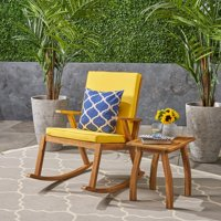 Champlain Outdoor Acacia Wood Rocking Chair with Side Table, Teak and Yellow