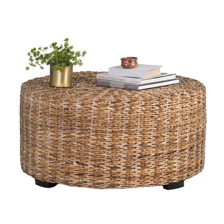 East at Main 's Langdon Brown Round Abaca Coffee Table