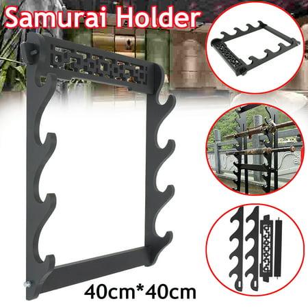 4 Tier Wall Mount Samurai Sword Katana Holder Stand Bracket Rack Wall Hanger Home (Sword Holder)