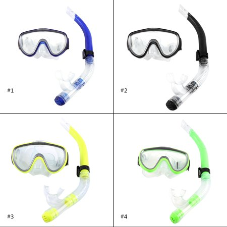 Snorkel Set, Adults Recreation Anti-fog Film Diving Mask Snorkel Set, Tempered Glass Diving Mask and Dry Top Snorkel for Swimming and Diving