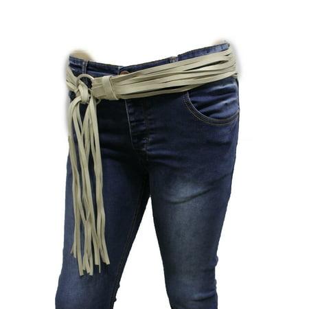 Suede Designer Belt (Women Silver Metal Ring Ivory Faux Suede Leather Fashion Belt Hip Waist S M L )