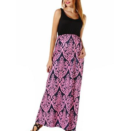 SAYFUT Women's Summer Beach Sleeveless Tank Top Floral Print Casual Swing Mini Dress High Waist Bohemian Maxi Skirt