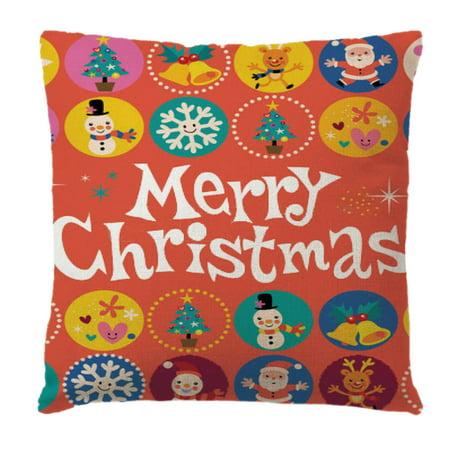 Christmas Cotton Linen Pillow Case Snowman Santa Printing Bed Home Decor Cushion Cover Shell Christmas Decor