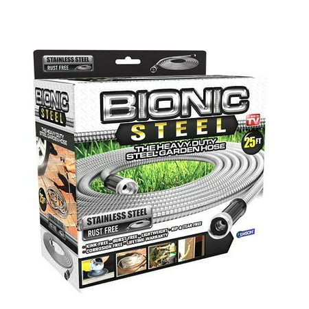 Bionic Steel Stainless Steel Super Durable Metal Garden Hose - Lightweight & Kink-Free, 25 ft- As Seen on