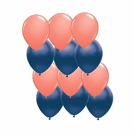 12ct Assorted Navy Blue and Coral Latex Balloons(6) 11 Coral Latex Balloons (6) 11 Navy Blue Metallic Satin Latex Balloons By Anagram - Navy Balloons