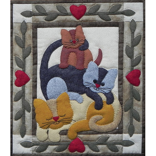 """Cat Stack Wall Quilt Kit-13""""X15"""""""