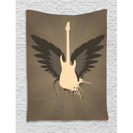 Modern Decor Tapestry, Music Themed Rocker Metal Head Guitar Art Print, Wall Hanging for Bedroom Living Room Dorm Decor, 60W X 80L Inches, Black Charcoal Grey Umber and Mustard, by Ambesonne (Halloween Themed Metal Music)