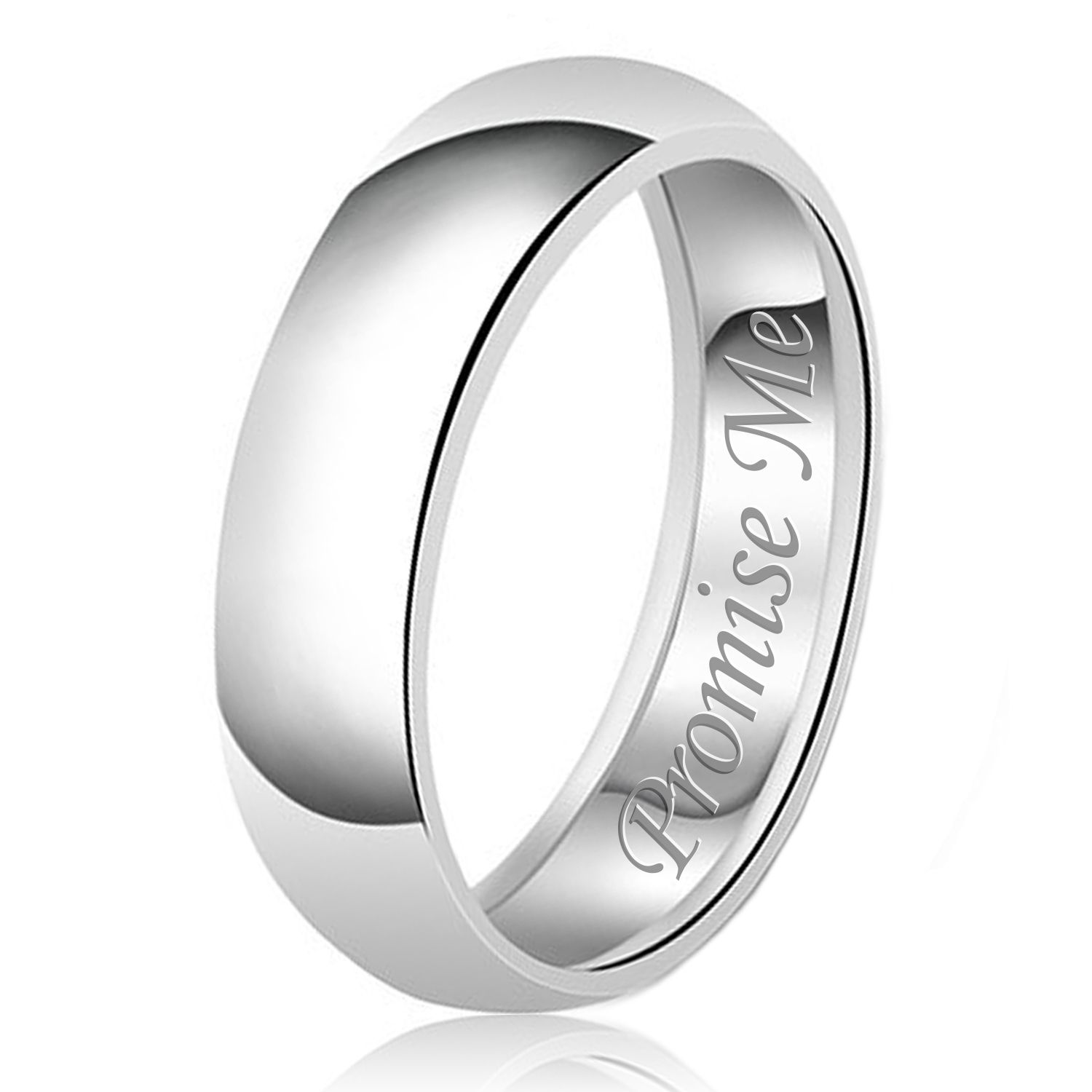 8mm Promise Me Engraved Classic Sterling Silver Plain Wedding Band Ring