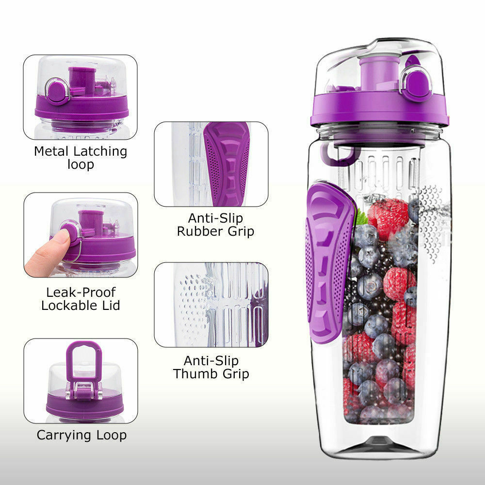 1000ml Fruit Infusion Infusing Infuser Water Bottle Health BPA-Free Plastic ..