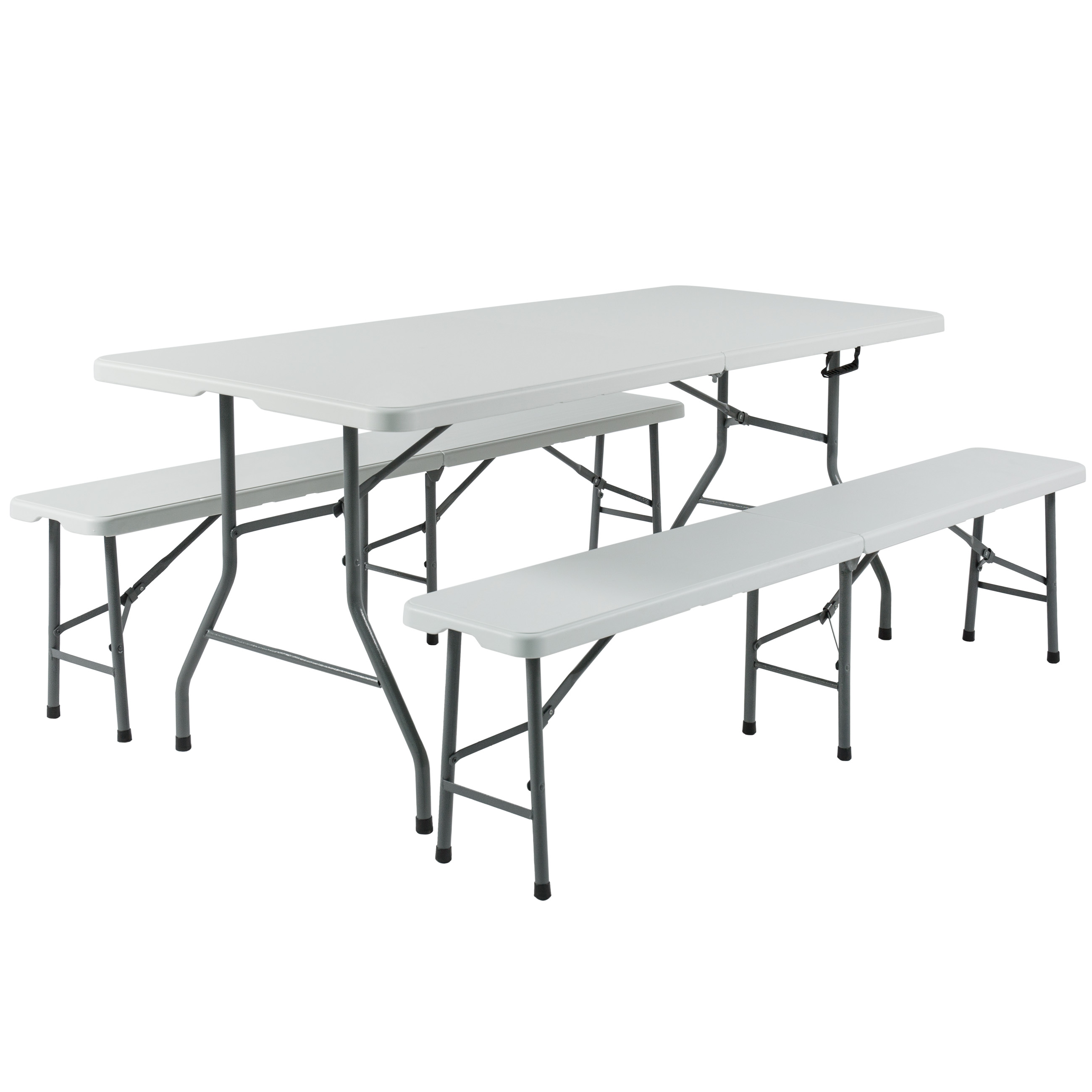 Best Choice Products 3pc Portable 6u0027 Folding Table And Bench Set Combo Resin