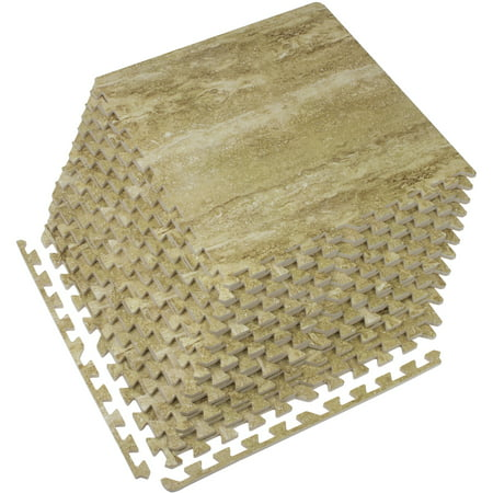 Faux Marble Flooring - Sorbus Faux Marble Floor Mat 3/8-Inch Thick Foam Interlocking Flooring Tiles with Borders