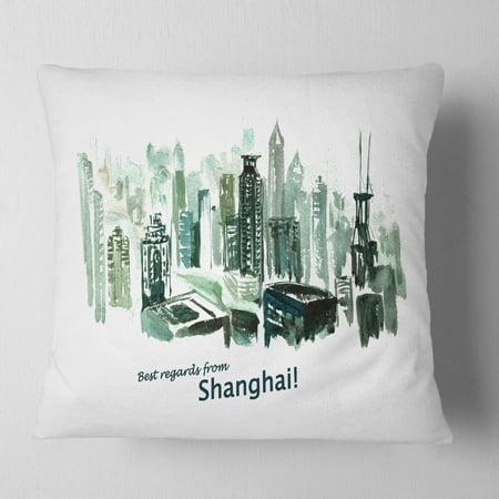 Design Art Designart Shanghai Vector Illustration Cityscape Painting Throw Pillow Walmart Com Walmart Com