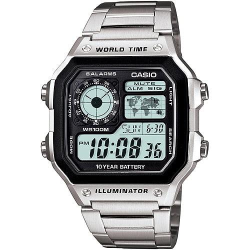 Men's World Time Watch, Stainless-Steel Bracelet